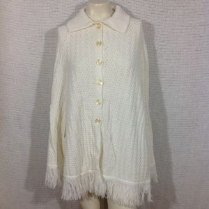 Vintage Acrylic Button Down Sweater Poncho